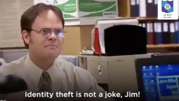 The image shows the fictional character Dwight Schrute.(Instagram/@punepolicecity)