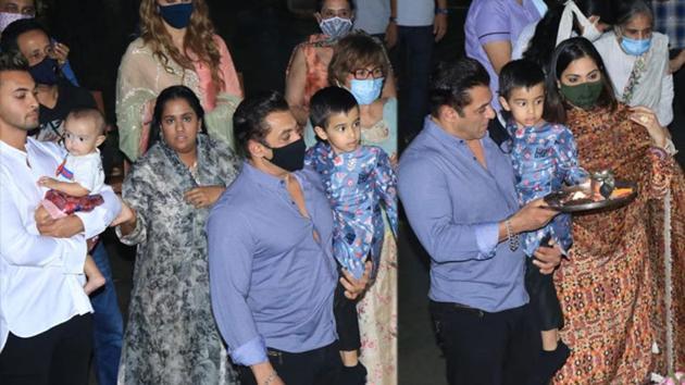 Salman Khan and family during Ganpati visarjan on Sunday.(Varinder Chawla)