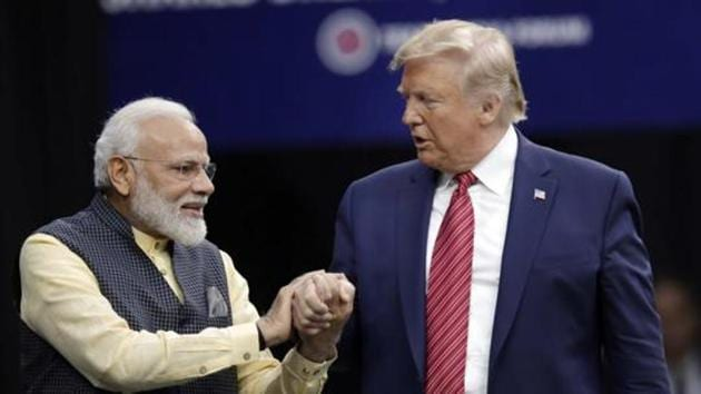 """File photo: Prime Minister Narendra Modi and President Donald Trump shake hands after introductions during the """"Howdi Modi"""" event, September 22, 2019 at NRG Stadium in Houston, US.(AP)"""