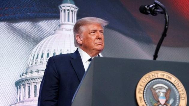 US president Donald Trump at the 2020 Council for National Policy meeting in Arlington, Virginia, US on August 21, 2020.(Reuters File Photo)