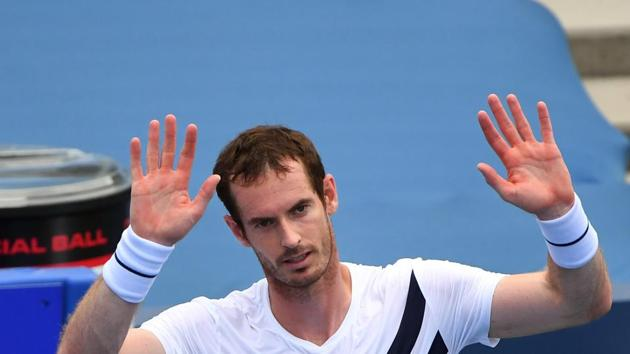 Aug 22, 2020; Flushing Meadows, New York, USA; Andy Murray reacts after his match against Frances Tiafoe during the Western & Southern Open at the USTA Billie Jean King National Tennis Center. Mandatory Credit: Robert Deutsch-USA TODAY Sports(USA TODAY Sports)