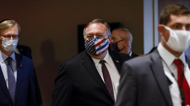 Secretary of State Mike Pompeo departs a meeting with members of the UN Security Council about Iran's alleged non-compliance with a nuclear deal at the United Nations in New York.(AP)