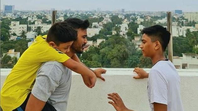 Dhanush with his sons, Yatra and Linga.