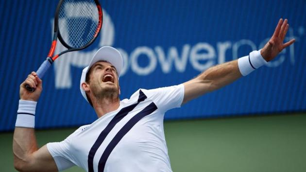 FILE PHOTO: Aug 22, 2020; Flushing Meadows, New York, USA; Andy Murray serves the ball against Frances Tiafoe during the Western & Southern Open at the USTA Billie Jean King National Tennis Center. Mandatory Credit: Robert Deutsch-USA TODAY Sports