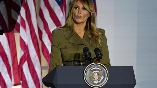 US first lady Melania Trump speaks at the Republican National Convention from the Rose Garden of the White House, on Tuesday.(AP Photo)