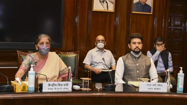 Union Finance Minister Nirmala Sitharaman chairs the 41st GST Council meeting via video conferencing, in New Delhi, Thursday, Aug 27, 2020.(PTI photo)