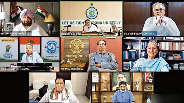 Congress Interim President Sonia Gandhi chairs a virtual meeting with Chief Ministers of 7 states to discuss various issues, in New Delhi, Wednesday, Aug 26, 2020.