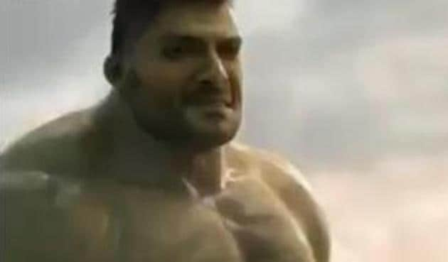 Ali Fazal as the Hulk in a fanmade video.
