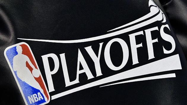 The NBA Playoff logo seat covering, on the Utah Jazz team's chairs.(Getty Images)