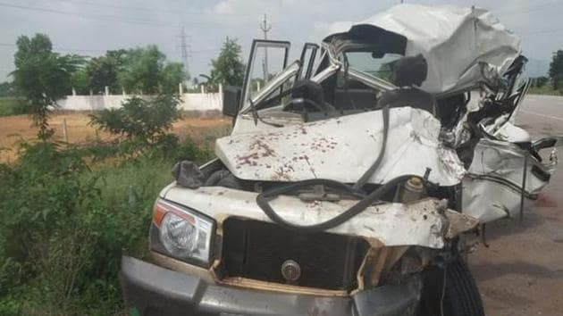The vehicle that met with an accident in Srikakulam on Friday night.(ANI)