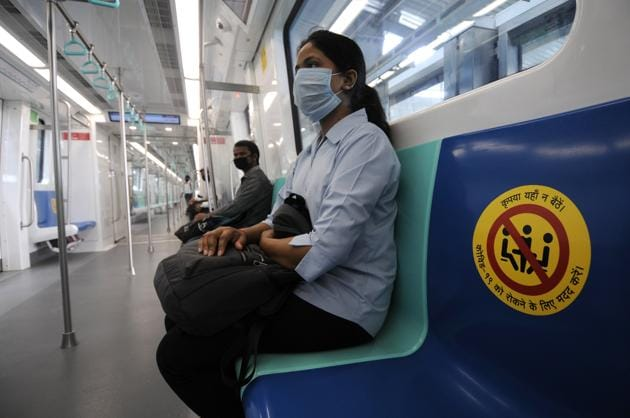 Stickers pasted on seats for adherence of social distancing inside metro train, during a mock drill at Sector 51 Metro Station, ahead Noida.(Sunil Ghosh/HT (Photos for representational purposes only))
