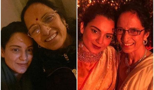 Kangana Ranaut with her mother, Asha Ranaut.