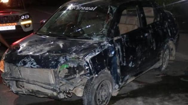 """Preliminary probe revealed that some """"distraction"""" caused the car to veer towards its right and crash into the road divider.(HT photo)"""