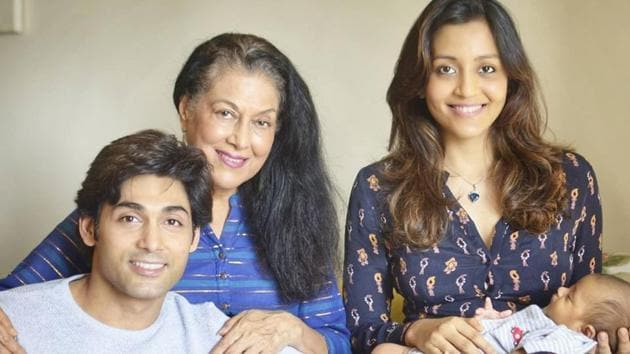 Ruslaan Mumtaz with his mother, wife and son.