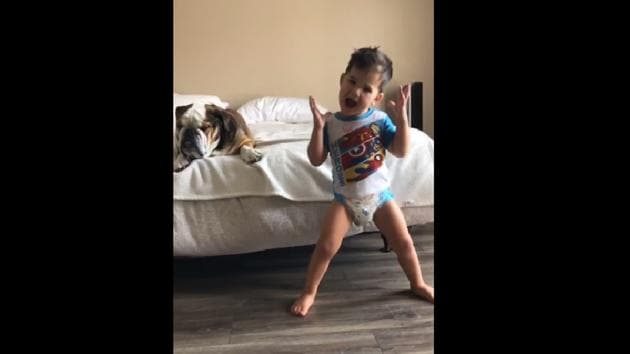 The clip shows the tiny tot dancing to the tune of the song I'm So Excited by The Pointer Sisters.(Instagram/@bigchunkymonkey)