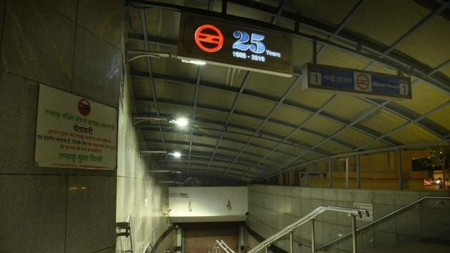 An entrance to Mandi House metro station as services remain suspended in New Delhi.(Arvind Yadav/HT PHOTO)