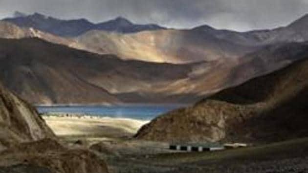 Pangong Tso lake near the India China border in India's Ladakh area.(AP)
