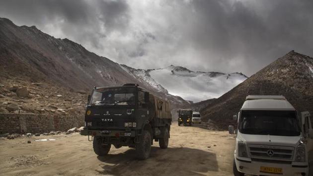 An Indian Army truck near Pangong Tso lake in Ladakh region.(AP)