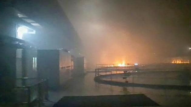 Smoke billows from a fire at Srisailam Left Bank Power Station (SLBP), in Kurnool district following an accident on August 20.(PTI)