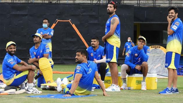 Chennai Super Kings players look on during their camp in Chennai.(Twitter/CSK)