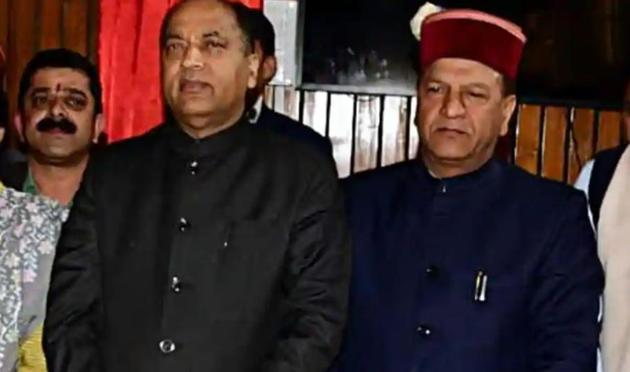 Five-time MLA Rajeev Bindal (right) with Himachal Pradesh chief minister Jai Ram Thakur. Bindal is a former speaker of the state assembly.(HT file photo)