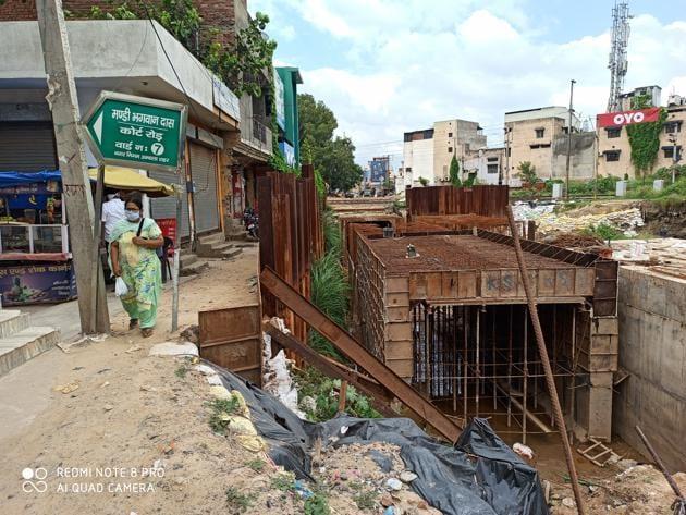 The underpass under construction at Ambala.(HT PHOTO)