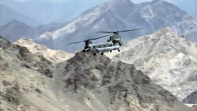 Indian Air Force aircraft carrying out sorties in Leh.(ANI)