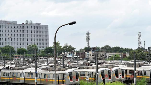 Metro trains parked at Timarpur yard, in New Delhi.(PTI/Representative Image)