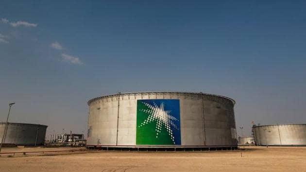 Oil tanks at a Saudi Aramco oil facility in Abqaiq, Saudi Arabia.(REUTERS)