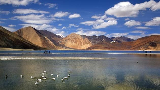 The southern bank of Pangong Tso has emerged as the latest bone of contention between India and China along the LAC in Ladakh.(AP File Photo)