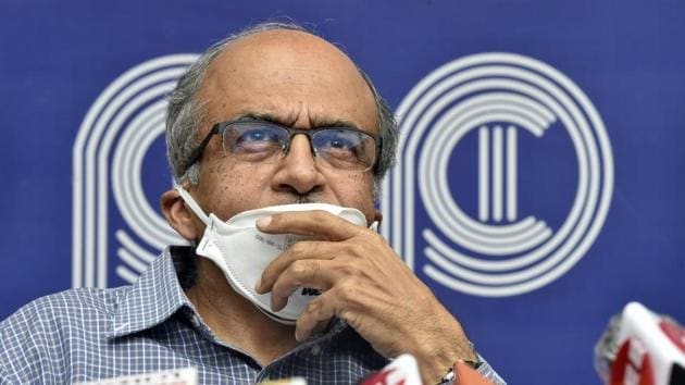 File photo: Senior advocate Prashant Bhushan during a press conference after the Supreme Court pronouced quantum of sentence in his contempt case.(Ajay Aggarwal /HT PHOTO)