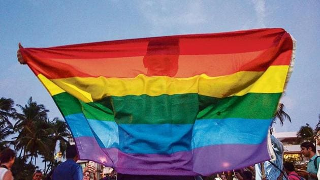 LGBTQ people celebrate the Section 377 verdict on September 6, 2018.(HT archive)