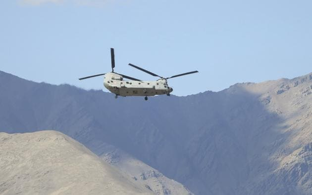 Leh: An IAF Chinook helicopter in skies of Ladakh.(PTI)