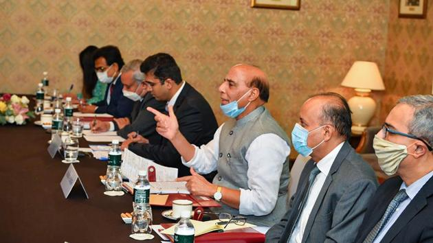 Defence Minister Rajnath Singh during a meeting with the Chinese Defence Minister General Fenghe (unseen), in Moscow.(PTI)