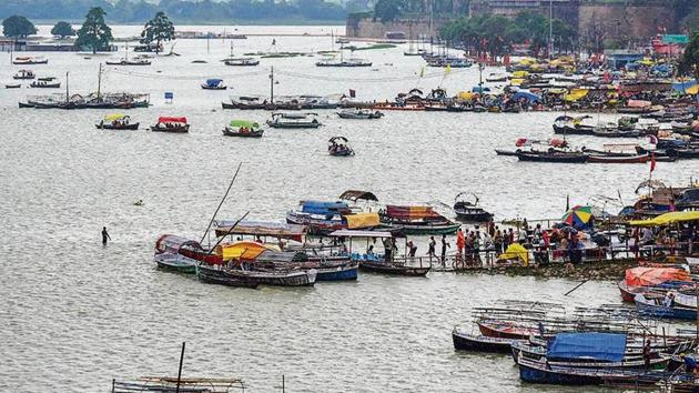 A submerged ghat in Prayagraj, caused due to a rise in water levels of Ganga and Yamuna rivers.(PTI photo)