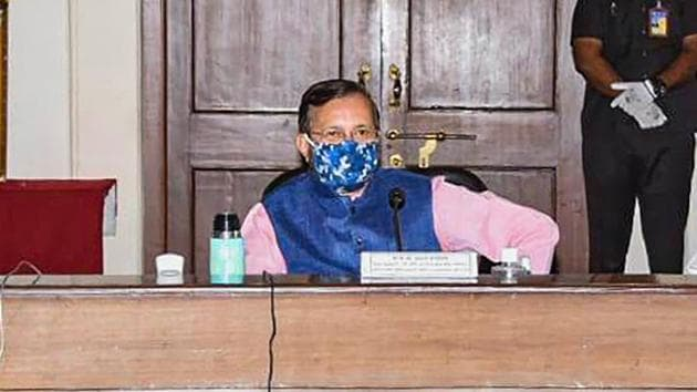 Union minister Prakash Javadekar during a Covid-19 review meeting in Pune on Saturday.(PTI File Photo)