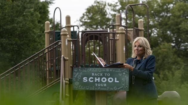 Jill Biden, wife of Democratic presidential candidate former Vice President Joe Biden, walks from a podium in front of a closed playground during a tour of the Evan G. Shortlidge Academy in Wilmington.(AP)