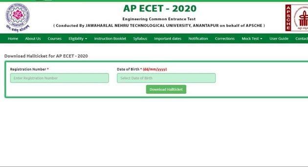 AP ECET 2020 admit card.(Screengrab)
