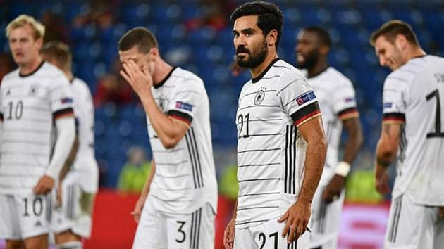 Germany's midfielder Ilkay Gundogan (C) looks on as Germany were held to a draw.(Getty Images)
