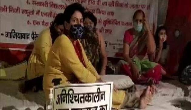 Indefinite hunger strike of Ghaziabad Parents entered fifth day on Sunday.(ANI)