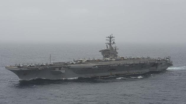 In this photo released by the US Navy, the aircraft carrier USS Nimitz transits the Arabian Sea.(AP)