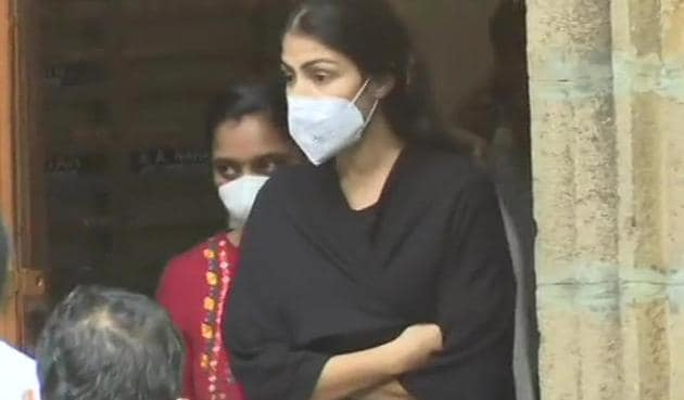 Rhea Chakraborty being taken for medical examination after being arrested by Narcotics Control Bureau.(ANI)