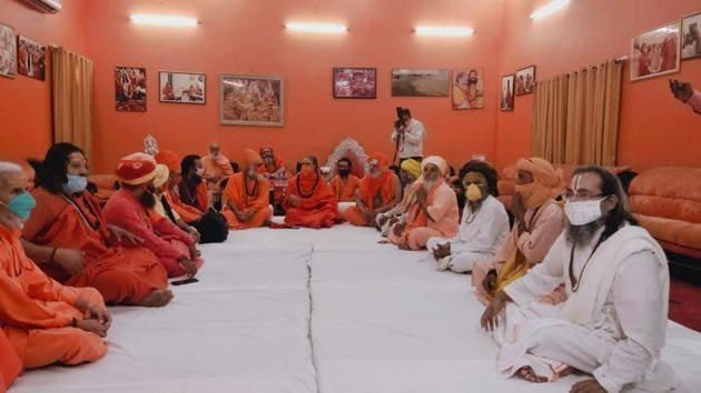 Saints attending meeting of Akhada Parishad in Prayagraj on Monday.(HT PHOTO)