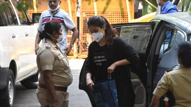 Rhea Chakraborty was arrested by the Narcotics Control Bureau on Tuesday afternoon.(Bhushan Koyande/ HT Photo)
