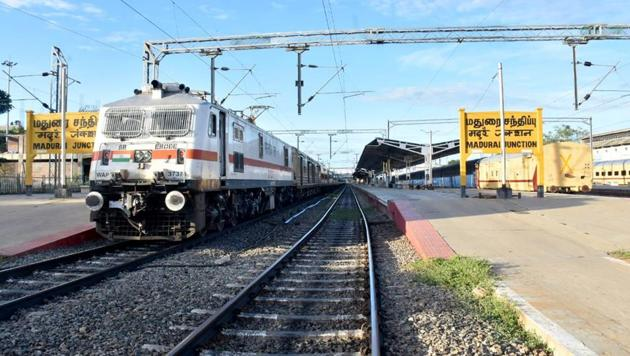 A train iatTamil Nadu's Madurai station. (ANI Photo)(ANI)