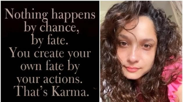 Ankita Lokhande shared a note on importance of karma.