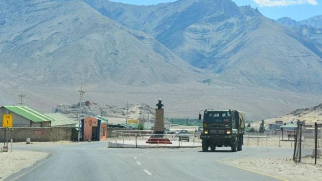 An army truck moves towards LAC, amid India-China border dispute in eastern Ladakh.(PTI)