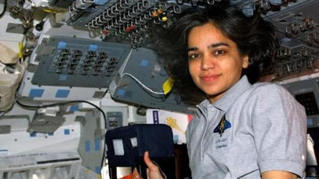Astronaut Kalpana Chawla, STS-107 mission specialist, is pictured on the flight deck of the Earth-orbiting Space Shuttle Columbia one day after the launch.