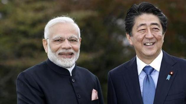 India's Prime Minister Narendra Modi, left, with Japan's Prime Minister Shinzo Abe.(AP)