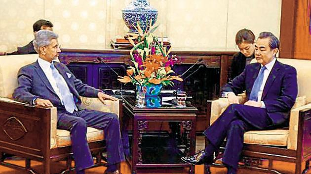 In this picture from 2017, union minister for foreign affairs (then foreign secretary) S Jaishankar meets with Chinese foreign minister Wang Yi in Beijing.(PTI File Photos)